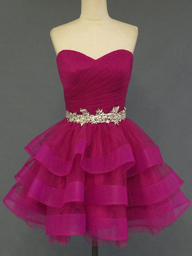 2017 Homecoming Dress Fuchsia Sweetheart Short Prom Dress Party Dress JK118