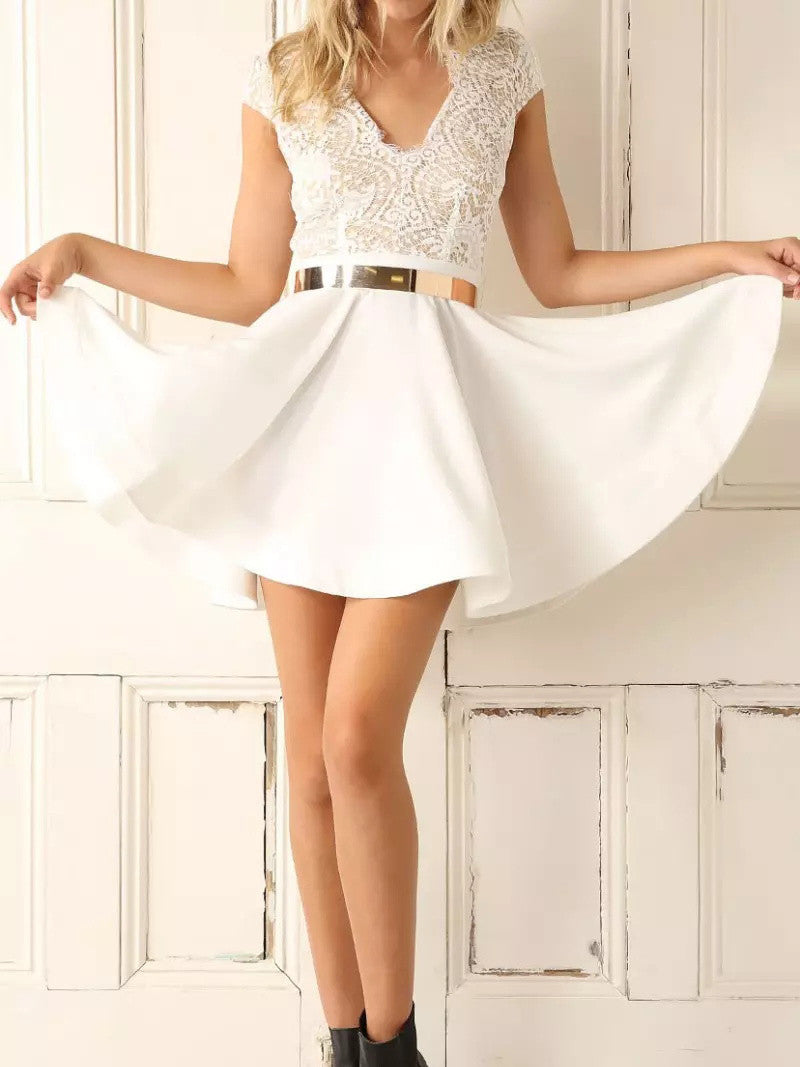 2017 Homecoming Dress White Lace Sexy Short Prom Dress Party Dress JK121