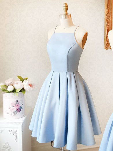2017 Homecoming Dress Sexy Satin Light Sky Blue Short Prom Dress Party Dress JK135