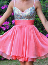 2017 Homecoming Dress Rhinestone Straps Short Prom Dress Party Dress JK137