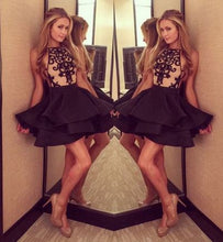 2017 Homecoming Dress Black Champagne Satin Short Prom Dress Party Dress JK139