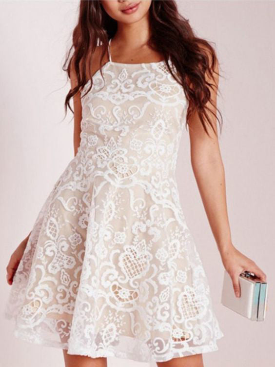 2017 Homecoming Dress Lace Ivory Lace-up Short Prom Dress Party Dress JK152