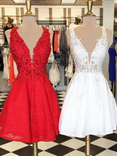 2017 Homecoming Dress Sexy V-neck Red White Short Prom Dress Party Dress JK156