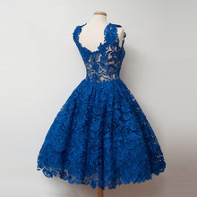 2017 Homecoming Dress Lace Royal Blue Short Prom Dress Party Dress JK158