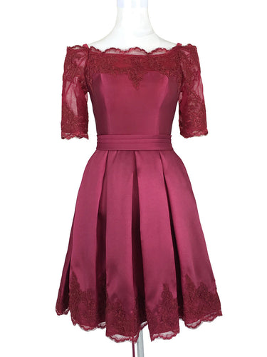 2017 Homecoming Dress Off-the-shoulder Burgundy Short Prom Dress Party Dress JK159