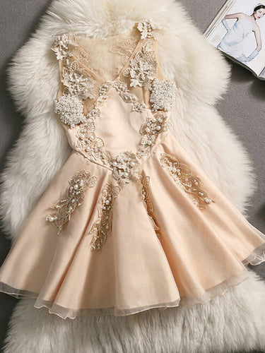 2017 Homecoming Dress Sexy V-neck Beading Short Prom Dress Party Dress JK166