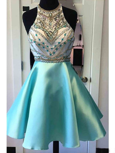 2017 Homecoming Dress Halter Sexy Rhinestone Short Prom Dress Party Dress JK184