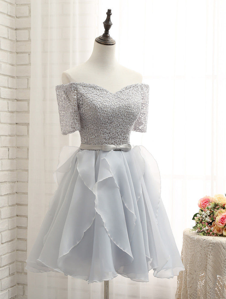 2017 Homecoming Dress Off The Shoulder Silver Short Prom
