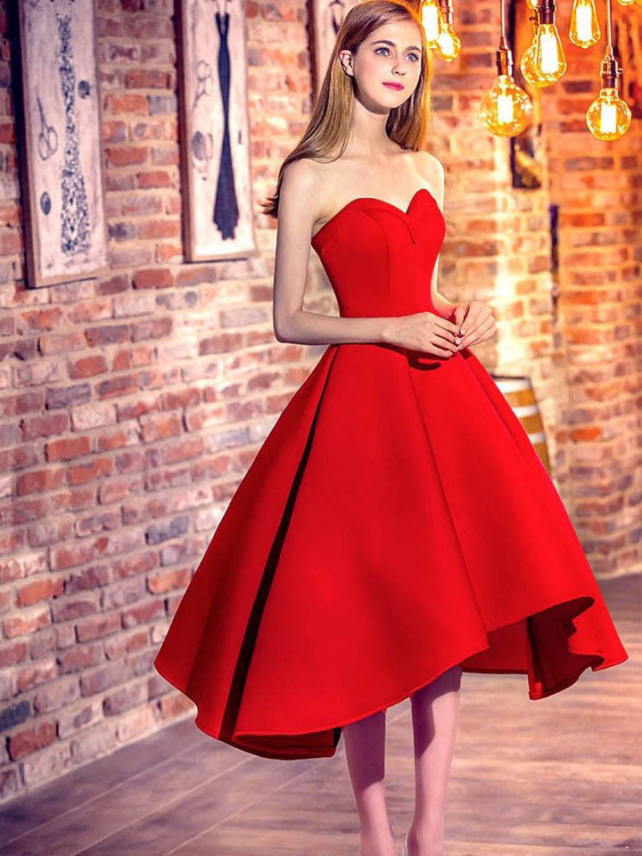 2017 Homecoming Dress Red Ball Gown Asymmetrical Short Prom Dress Party Dress JK189