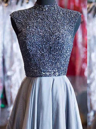 2017 Homecoming Dress Sexy High Neck Beading Short Prom Dress Party Dress JK190