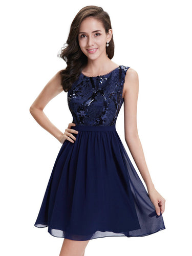 2017 Homecoming Dress Chic Dark Navy Lace Short Prom Dress Party Dress JK191