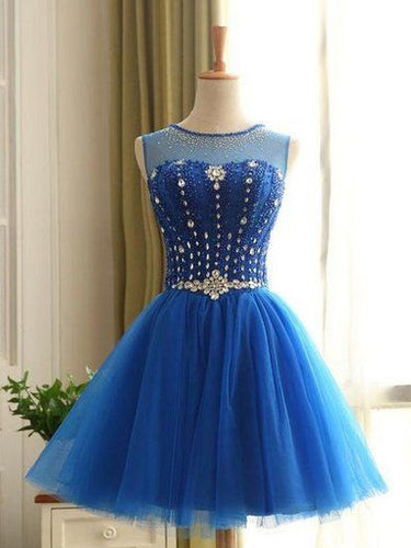 2017 Homecoming Dress Royal Blue Rhinestone Short Prom Dress Party Dress JK195