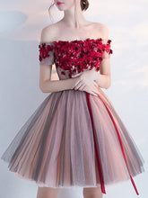 2017 Homecoming Dress Burgundy Hand-Made Flower Short Prom Dress Party Dress JK196
