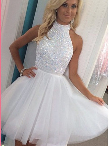 2017 Homecoming Dress Sexy White Halter Tulle Short Prom Dress Party Dress JK202
