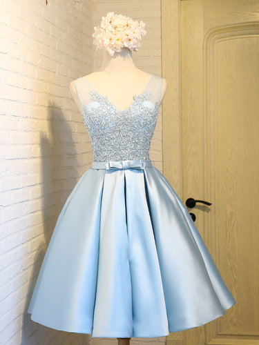 2017 Homecoming Dress Blue V-neck Appliques Short Prom Dress Party Dress JK207