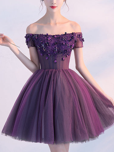 2017 Homecoming Dress Purple Off-the-shoulder Short Prom Dress Party Dress JK208