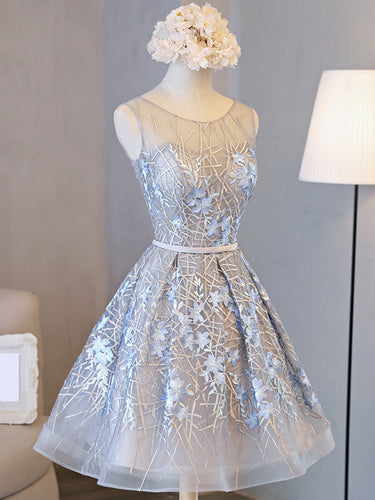 2017 Homecoming Dress Beautiful Silver Lace Scoop Short Prom Dress Party Dress JK209