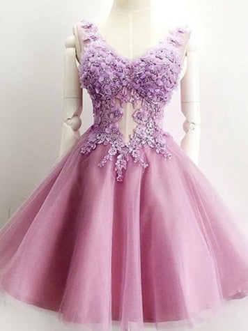 2017 Homecoming Dress V-neck Appliques Lilac Short Prom Dress Party Dress JK211