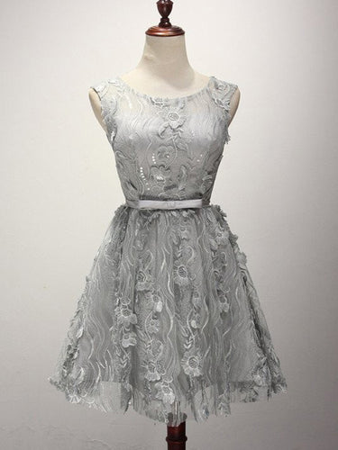 2017 Homecoming Dress Chic Scoop Silver Lace Short Prom Dress Party Dress JK214