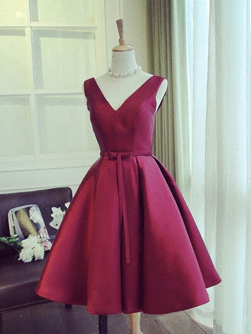 6f6ad8e63db 2017 Homecoming Dress Satin V-neck Bowknot Burgundy Short Prom Dress Party  Dress JK216