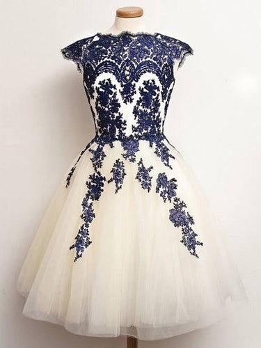 2017 Homecoming Dress Chic Ivory Vintage Tulle Short Prom Dress Party Dress JK218