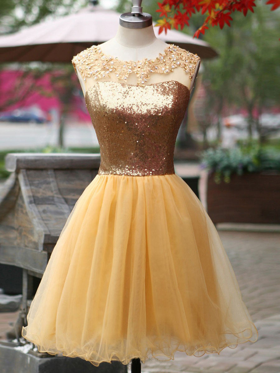 2017 Homecoming Dress Sexy Gold Sequins Scoop Short Prom Dress Party Dress JK223