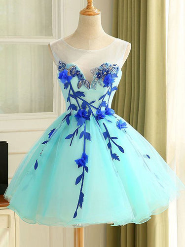 2017 Homecoming Dress Beautiful Hand-Made Flower Short Prom Dress Party Dress JK225