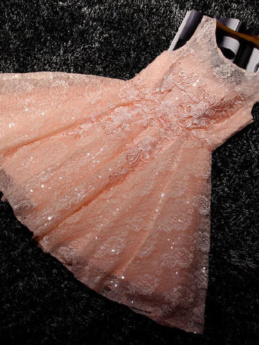 2017 Homecoming Dress Orange Lace Lace-up Short Prom Dress Party Dress JK226