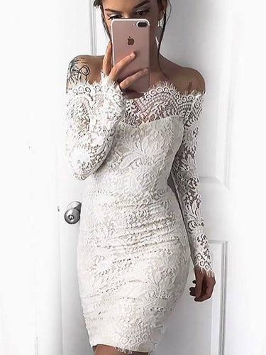 Lace Homecoming Dress Sheath Sexy Long Sleeve Short Prom Dress Fashion Party Dress JK233|Annapromdress