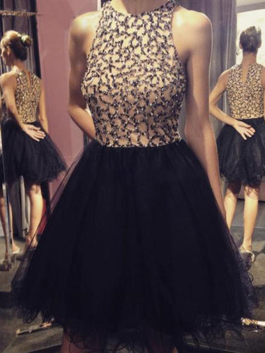 2017 Homecoming Dress Chic Black Sequins Tulle Short Prom Dress Party Dress JK236