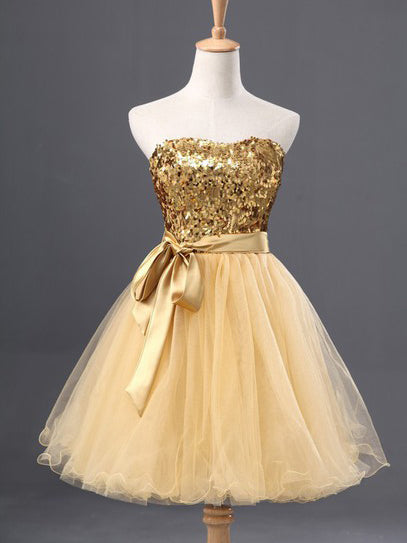 2017 Homecoming Dress Gold Strapless Bowknot Short Prom Dress Party Dress JK237