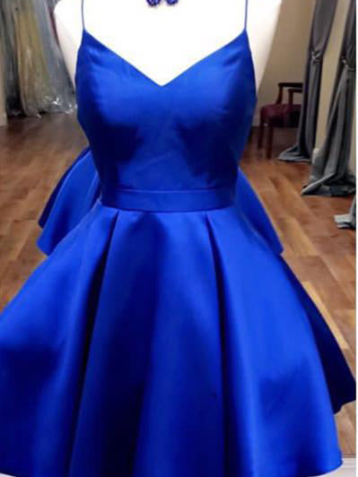 2017 Homecoming Dress Spaghetti Straps Royal Blue Short Prom Dress Party Dress JK239