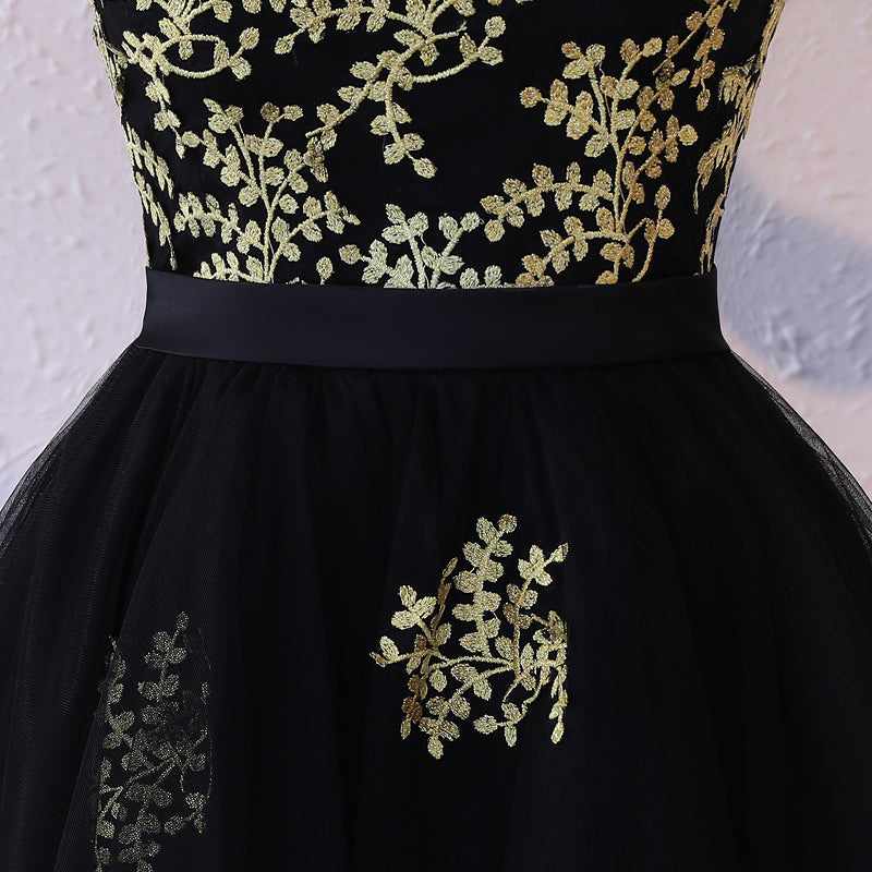 2017 Homecoming Dress Black Tulle Gold Appliques Short Prom Dress