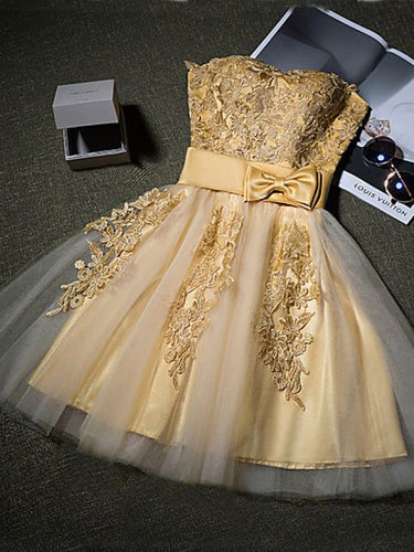 2017 Homecoming Dress Gold Appliques Sweetheart Short Prom Dress Party Dress JK250