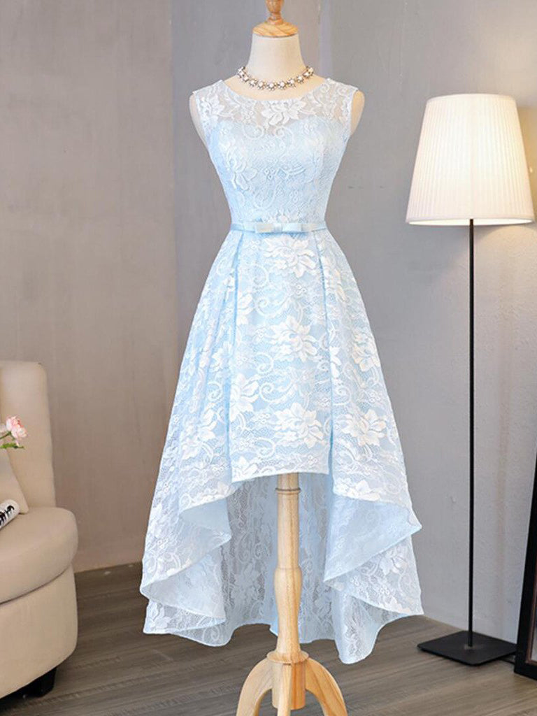 2017 Homecoming Dress Light Sky Blue Asymmetrical Short Prom Dress Party Dress JK252