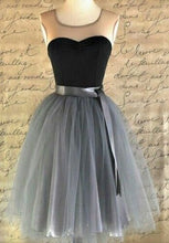 2017 Homecoming Dress Vintage Ribbons Belt Tulle Short Prom Dress Party Dress JK254