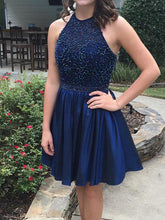 2017 Homecoming Dress Sexy Halter Royal Blue Short Prom Dress Party Dress JK256