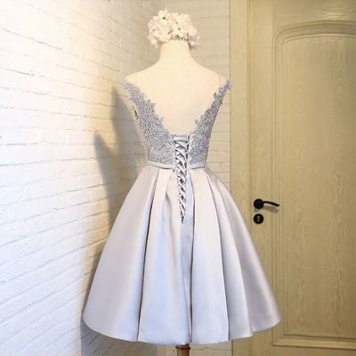 2017 Homecoming Dress Silver Lace-up Satin Short Prom Dress Party ...