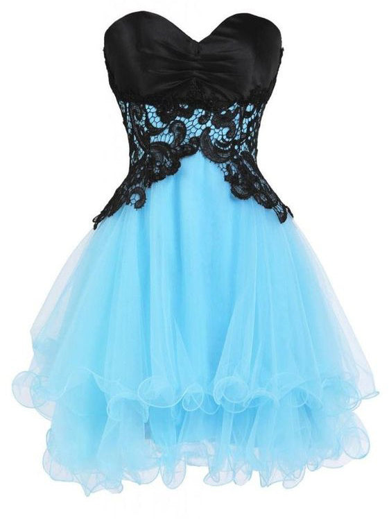 8d34ed5eb92 2017 Homecoming Dress Blue and Black Lace Short Prom Dress Party Dress JK260