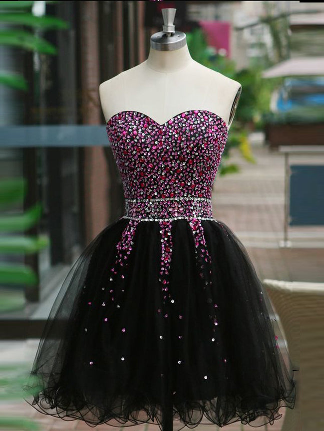 2017 Homecoming Dress Sweetheart Black Sequins Short Prom Dress Party Dress JK267