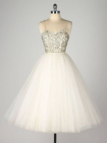 2017 Homecoming Dress Gold Sequins Ivory Tulle Short Prom Dress Party Dress JK270