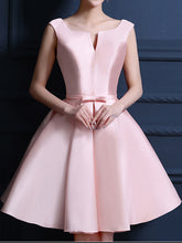 Pink Homecoming Dress Bowknot Lace-up Satin Short Prom Dress Party Dress JK272