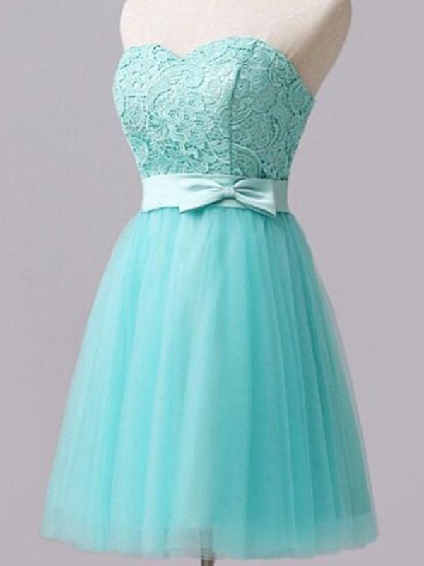 Sexy Homecoming Dress Sweetheart Lace Tulle Short Prom Dress Party Dress JK273