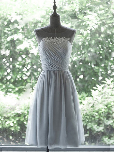 Chic Homecoming Dress Silver Ruffles Tulle Short Prom Dress Party Dress JK275