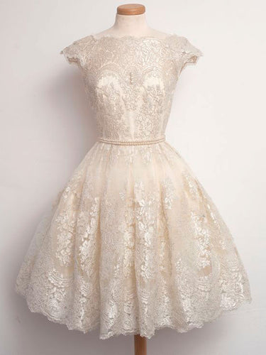 Beautiful Homecoming Dress Vintage Ivory Tulle Short Prom Dress Party Dress JK276