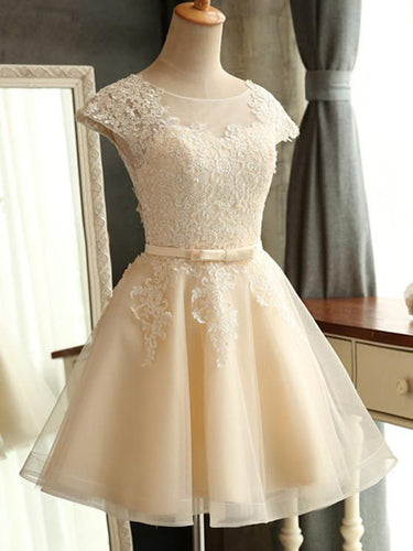 Cute Homecoming Dress Scoop Appliques Tulle Short Prom Dress Party Dress JK277