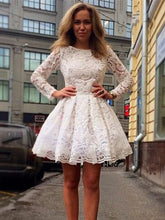 White Homecoming Dress Long Sleeve Lace Short Prom Dress Party Dress JK282