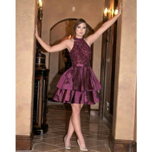 Chic Homecoming Dress Rhinestone High Neck Short Prom Dress Party Dress JK283