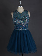 Sexy Homecoming Dress Scoop Tulle Rhinestone Short Prom Dress Party Dress JK284