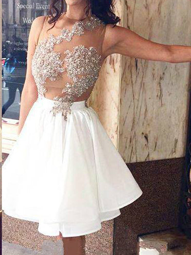 White Homecoming Dress Sexy Appliques Chiffon Short Prom Dress Party Dress JK285